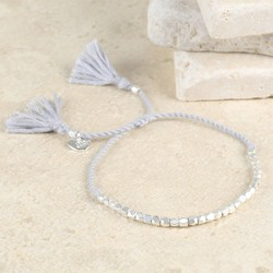 Delicate Matt Silver Faceted Bead Bracelet in Grey