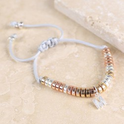Mixed Metal Disc Bracelet with Initial Charm