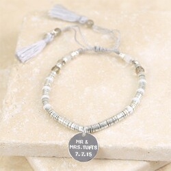 Personalised Silver Boho Tassel Bracelet with Disc Charm