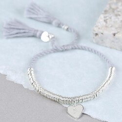 Edie Bracelet with Initial Stamped Heart Charm in Grey