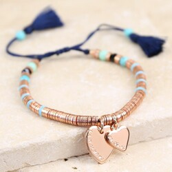 Personalised Rose Gold Boho Double Heart Tassel Bracelet