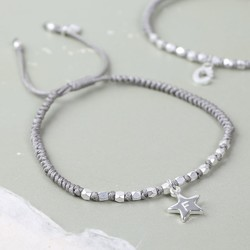 Personalised Grey Bead & Knot Bracelet with Initial Charm