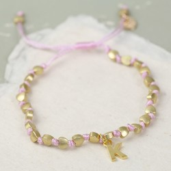 Personalised Matt Gold Hearts Friendship Bracelet in Pink