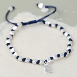 Personalised Matt Silver Hearts Friendship Bracelet in Navy