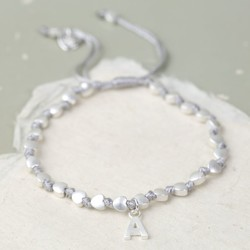 Personalised Matt Silver Hearts Friendship Bracelet in Grey