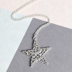 Personalised Lace Effect Silver Star Necklace
