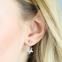 White Star and Gem Jacket Earrings