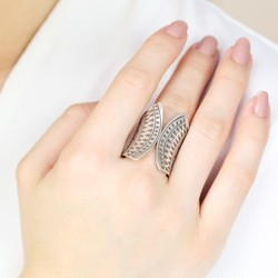 Sterling Silver Open Front Aztec Ring