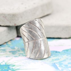 Wide Sterling Silver Leaf Ring