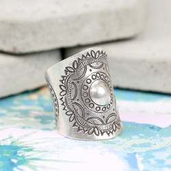 Wide Sterling Silver Round Mandala Ring