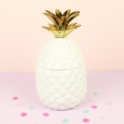 White and Gold Ceramic Pineapple Jar