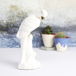 White Ceramic Parrot Ornament