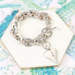Danon Chunky Silver Bracelet With Signature Heart