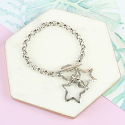 Danon Silver Double Open Star Toggle Bracelet