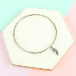 Danon Silver Small Wing Charm Bangle