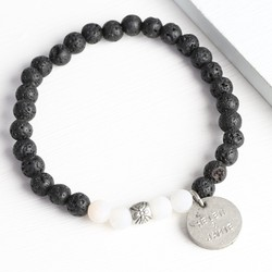 Men's Personalised Black and White Volcanic Stone Beads Bracelet