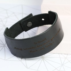 Men's Personalised Black Leather Cuff Bracelet