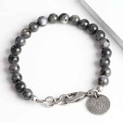 Men's Personalised Black Obsidian Beaded Bracelet