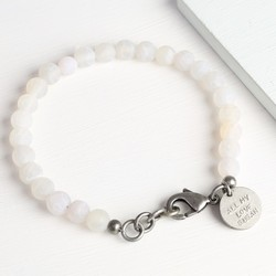 Men's Personalised Frosted White Agate Bead Bracelet