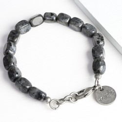Men's Personalised Rectanglular Obsidian Stone Bead Bracelet