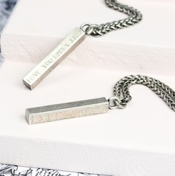 Men's Personalised Metal Bar Necklace