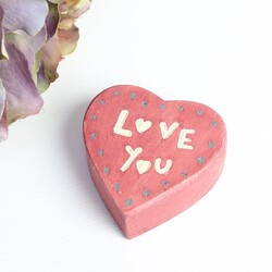 East of India 'Love You' Wooden Heart Block