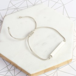 Sterling Silver Brushed Horizontal Bar and Cord Bracelet