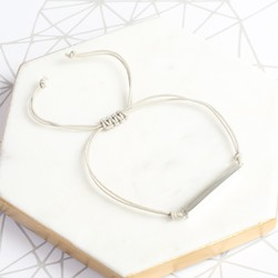 Sterling Silver Shiny Horizontal Bar and Cord Bracelet