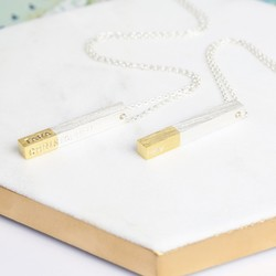 Personalised Gold Dipped Silver Bar Necklace