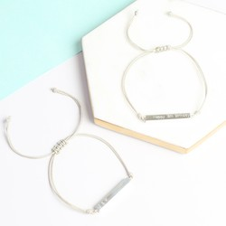 Personalised Sterling Silver Horizontal Bar and Cord Bracelet