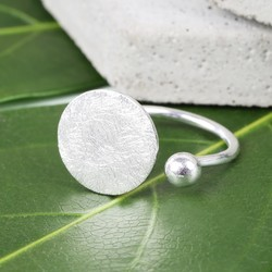 Brushed Silver Open Disc Ring