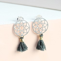 Silver Dreamcatcher Earrings With Grey Tassels