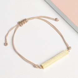 Gold Horizontal Bar and Cord Bracelet in Stone