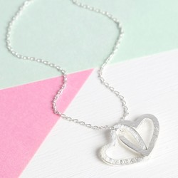 Personalised Silver Interlocking Hearts Pendant Necklace