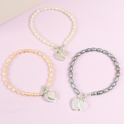 Personalised Double Heart Freshwater Rice Pearl Bracelet