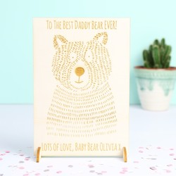 Engraved 'Daddy Bear' Wooden Postcard