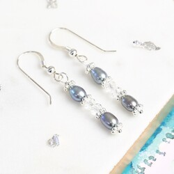 Handmade Crystal and Grey Freshwater Pearl Drop Earrings