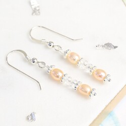 Handmade Crystal and Peach Freshwater Pearl Drop Earrings