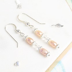 Handmade Crystal and Vintage Pink Freshwater Pearl Drop Earrings