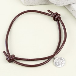 Men's Engraved St Christopher Leather Bracelet in Dark Brown