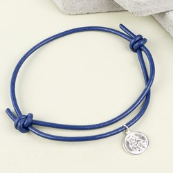 Men's Engraved St Christopher Leather Bracelet in Navy