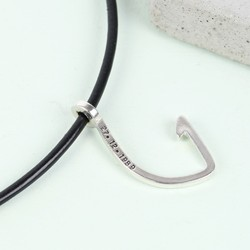 Men's Personalised Black Leather Cord and Hook Necklace