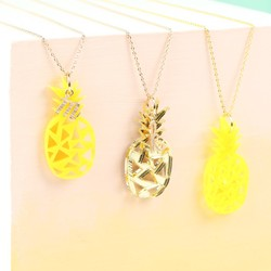 Acrylic Pineapple Necklace with Initial Charm