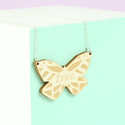 Personalised Wooden Butterfly Necklace