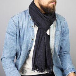 Men's Almost Black Soft Woven Scarf