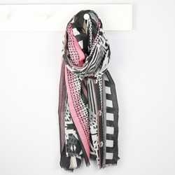 Monochrome Geometric Tribal Print Scarf