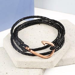 Men's Black Leather Wrap Bracelet with Rose Gold Hook Clasp