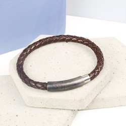 Men's Braided Brown Leather Bracelet with Stainless Steel Clasp