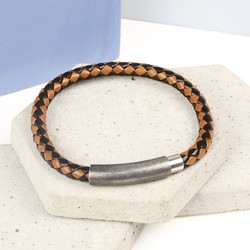 Men's Braided Two Tone Brown Leather Bracelet with Stainless Steel Clasp