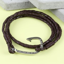 Men's Personalised Brown Leather Wrap Bracelet with Hook Clasp